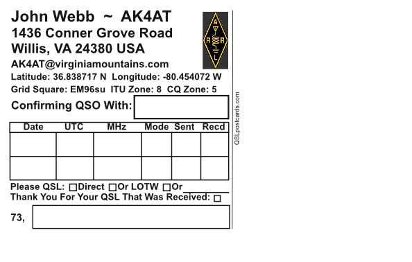 QSL Cards And Postcards Produced In USA And Canada - Qsl card template